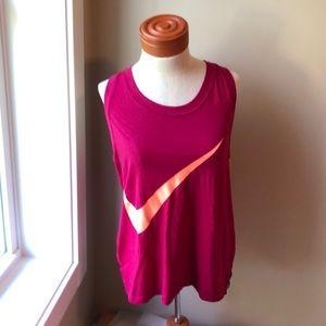 Nike tank magenta color w/ coral colored check